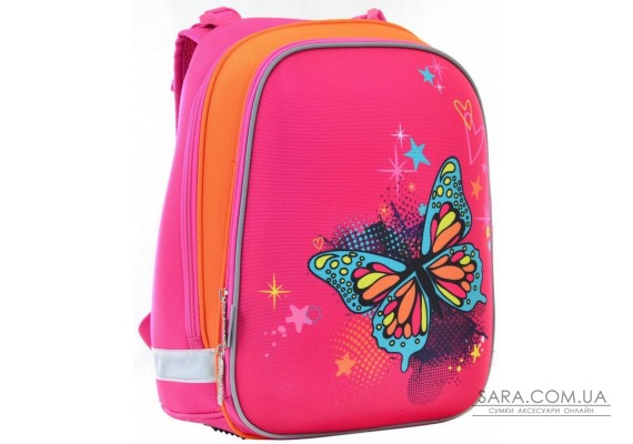 Шкільний каркасний рюкзак 1 Вересня 29х38х15 см 16 л для дівчаток H-12 blue Butterfly (554579)