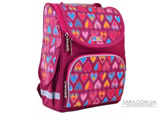 Школьный каркасный рюкзак Smart 12 л для девочек PG-11 «Hearts Style» (555920)