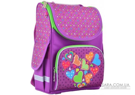 Шкільний каркасний рюкзак Smart 26х34х14 см 12 л для дівчаток PG-11 Hearts pink (554447)