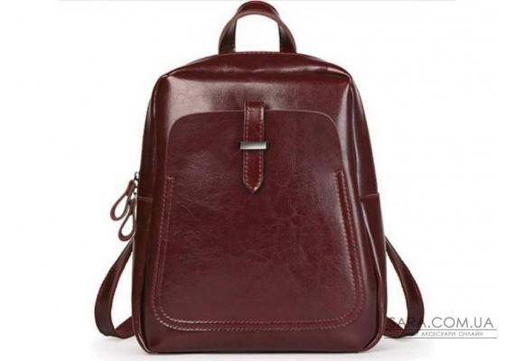 Бордовий шкіряний жіночий рюкзак Grays GR-8860BO