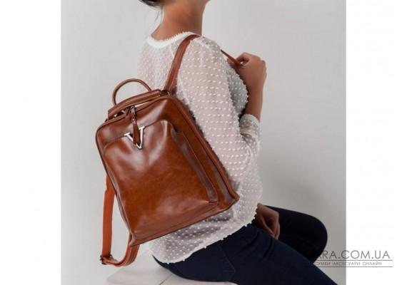 Коричневий жіночий шкіряний рюкзак GR3-801LB-BP
