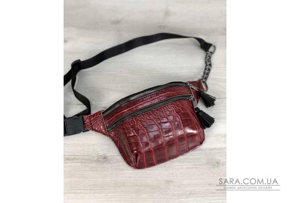 Стильна сумочка на пояс Елен червоний крокодил WeLassie