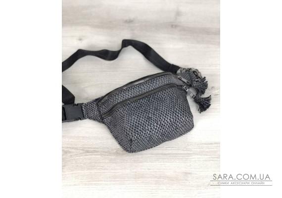 Стильна сумочка на пояс Елен сіра змія WeLassie