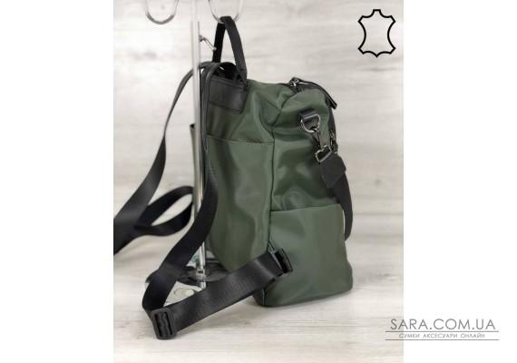 Кожаная  сумка-рюкзак Taus черного с оливковым цвета WeLassie