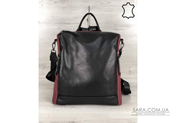 Кожаная  сумка-рюкзак Taus черного с бордовым цвета WeLassie