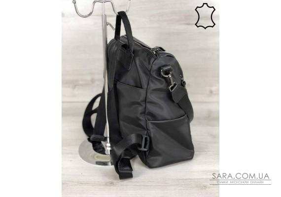 Кожаная  сумка-рюкзак Taus черного цвета WeLassie