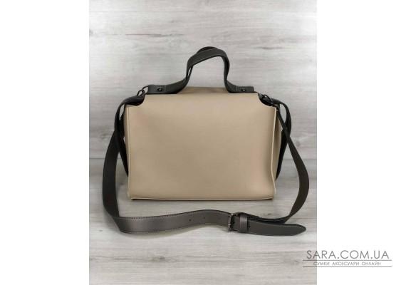 2в1 Стильна жіноча сумка Маліка кремового кольору WeLassie