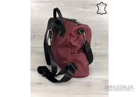 Кожаная  сумка-рюкзак Angelo черного с бордовым цвета WeLassie