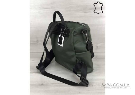 Кожаная  сумка-рюкзак Angelo черного с оливковым цвета WeLassie