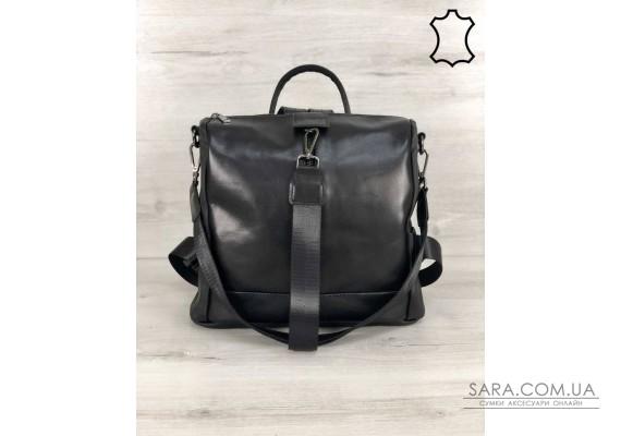 Шкіряна сумка-рюкзак Angelo чорного кольору WeLassie