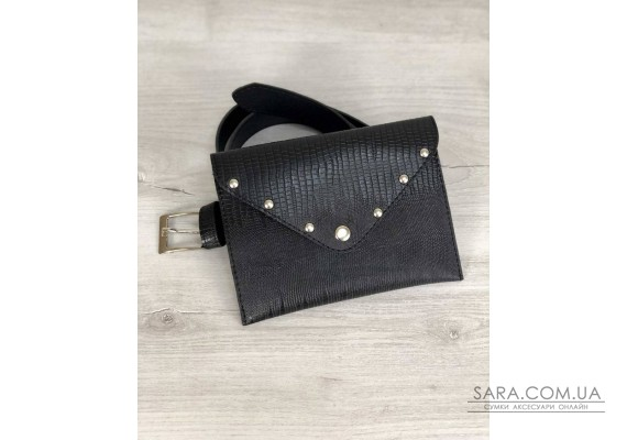 Жіноча сумка на пояс чорна змія WeLassie