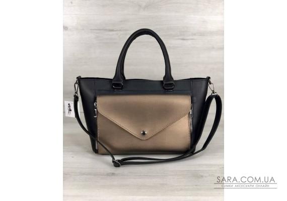 Стильна молодіжна сумка Сагари чорний з бронзою WeLassie