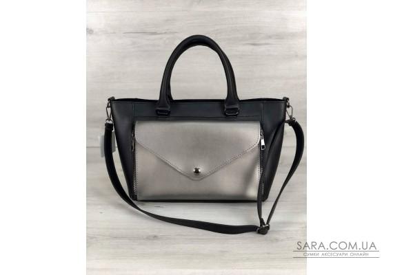 Стильна молодіжна сумка Сагари чорний з металіком WeLassie