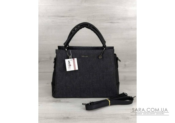 Стильна жіноча сумка Грана чорний блиск WeLassie