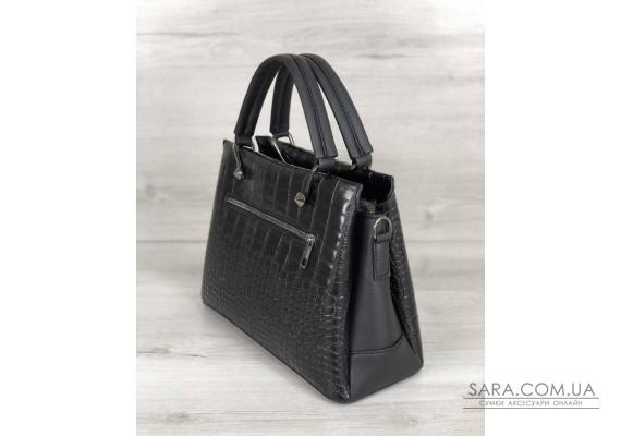 Стильная женская сумка Грана черный крокодил WeLassie