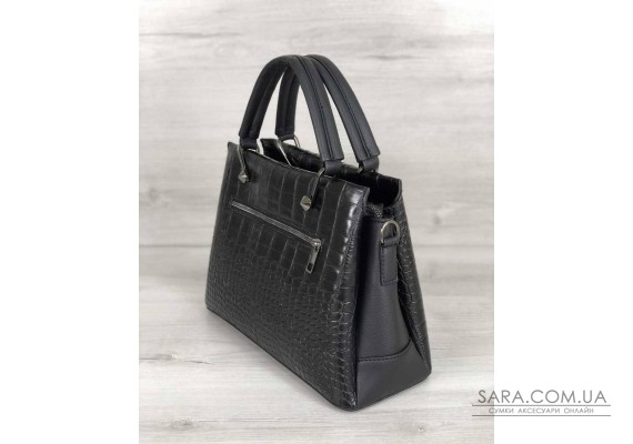 Стильна жіноча сумка Грана чорний крокодил WeLassie
