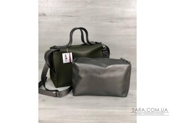 2в1 Стильна жіноча сумка Маліка оливкового кольору WeLassie