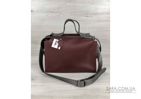 2в1 Стильна жіноча сумка Маліка бордового кольору WeLassie