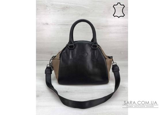 """Кожаная стильная женская сумка """"Elis"""" черного с кофейным цвета WeLassie"""
