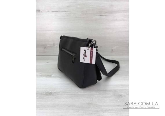 Стильная сумка-клатч  Tina со вставкой черный блеск WeLassie
