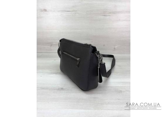 Стильная сумка-клатч  Tina со вставкой черный лак WeLassie