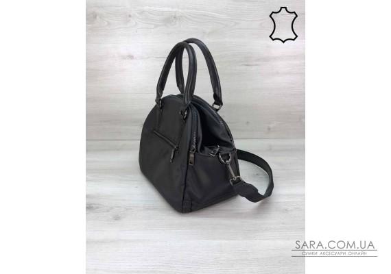 """Кожаная стильная женская сумка """"Elis"""" черного цвета WeLassie"""