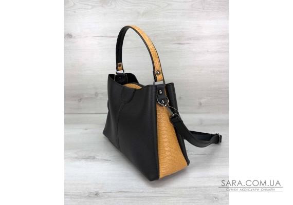 Жіноча сумка Чи чорна з гірчицею WeLassie