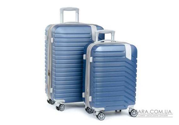 Дорожня Валіза 2/1 ABS-пластик 8347 blue змійка Podium