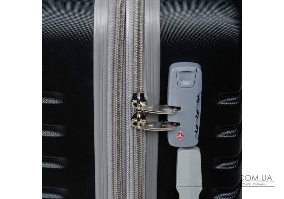 Дорожня Валіза 2/1 ABS-пластик 8347 black змійка Podium