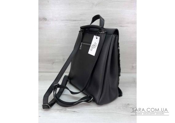 Рюкзак Фабі чорний з хутром WeLassie