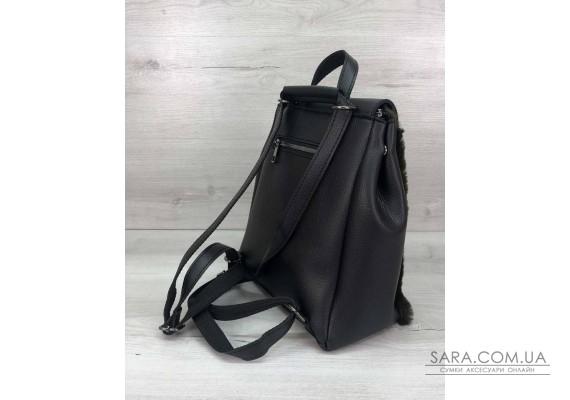 Рюкзак Фабі чорний з оливковою хутром WeLassie