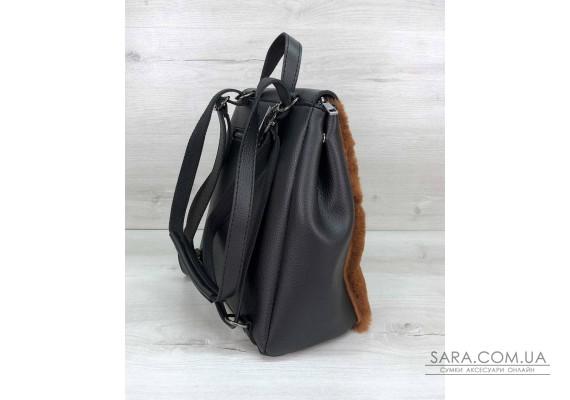 Рюкзак Фабі чорний з рудим хутром WeLassie