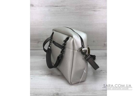 Стильная женская сумка Хлоя серебряного цвета WeLassie