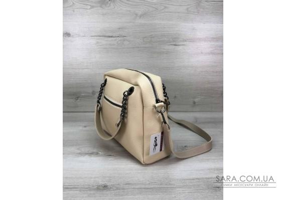 Стильная женская сумка Хлоя бежевого цвета WeLassie