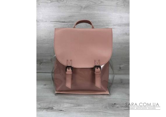 Рюкзак силіконовий з косметичкою пудра WeLassie