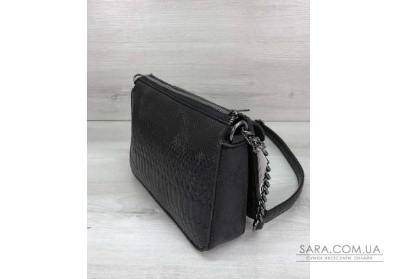 Стильная сумка  Rika черная рептилия WeLassie