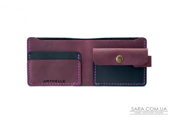 Шкіряний жіночий гаманець Compact чорний-марсала Art Pelle