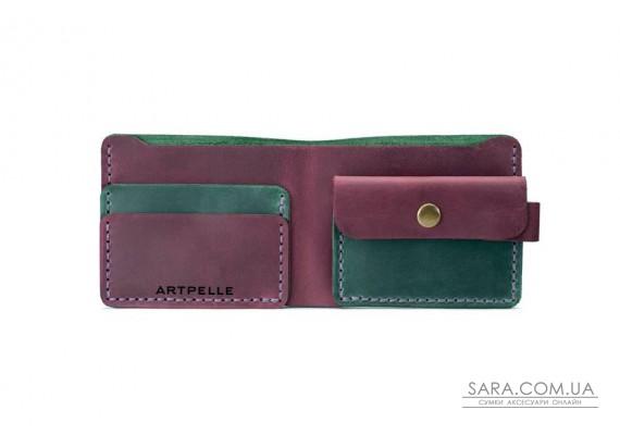 Шкіряний жіночий гаманець Compact зелений-марсала Art Pelle