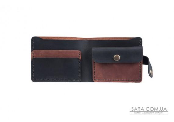 Шкіряний чоловічий гаманець Compact коньяк-чорний Art Pelle