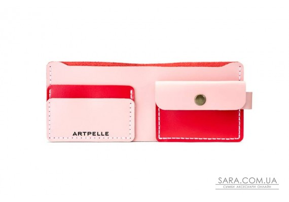 Шкіряний жіночий гаманець Compact червоний-рожевий Art Pelle