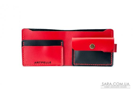 Шкіряний жіночий гаманець Compact чорний-червоний Art Pelle