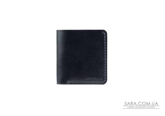 Шкіряний чоловічий гаманець Slim чорний Art Pelle