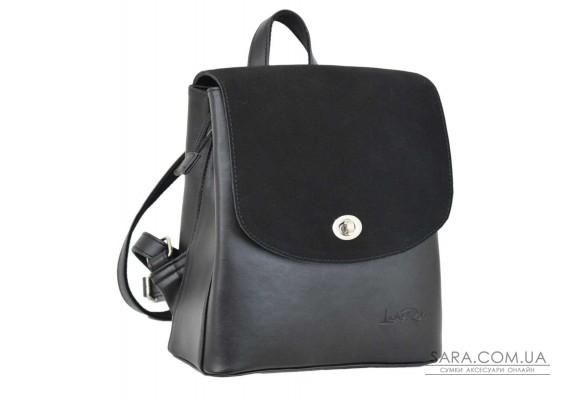 646 рюкзак чорний замш г Lucherino