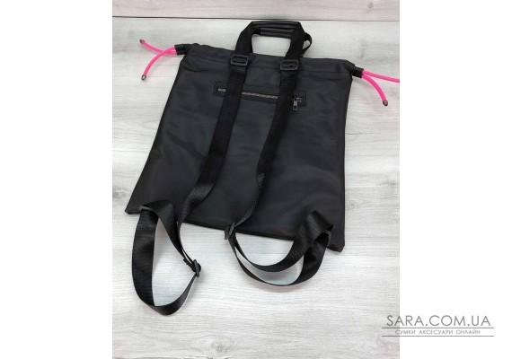 Жіночий шоппер-рюкзак Berry чорний з неоновим малиновим WeLassie