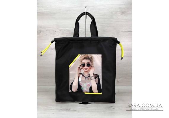 Женский шоппер-рюкзак Berry черный с неоновым желтым WeLassie