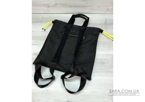 Жіночий шоппер-рюкзак Berry чорний з неоновим жовтим WeLassie