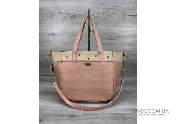 Жіноча сумка Дарина з шипами пудра WeLassie