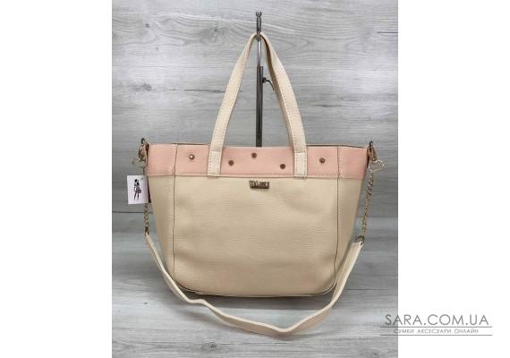 Женская сумка Дарина с шипами бежевая WeLassie