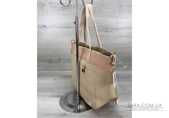 Жіноча сумка Дарина з шипами бежева WeLassie