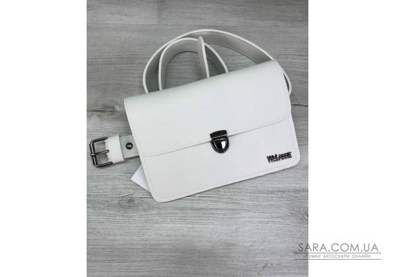 Женская сумка на пояс- клатч Арья белого цвета WeLassie